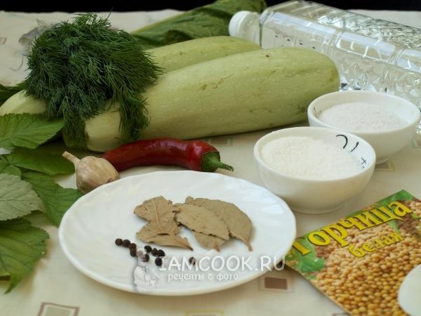 Ингредиенты для кабачков на зиму без стерилизации