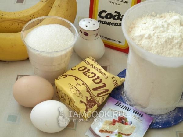 Ингредиенты для бананового кекса в духовке