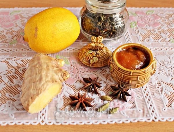 Ингредиенты для имбирного чая с лимоном и медом