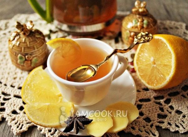 Фото имбирного чая с лимоном и медом