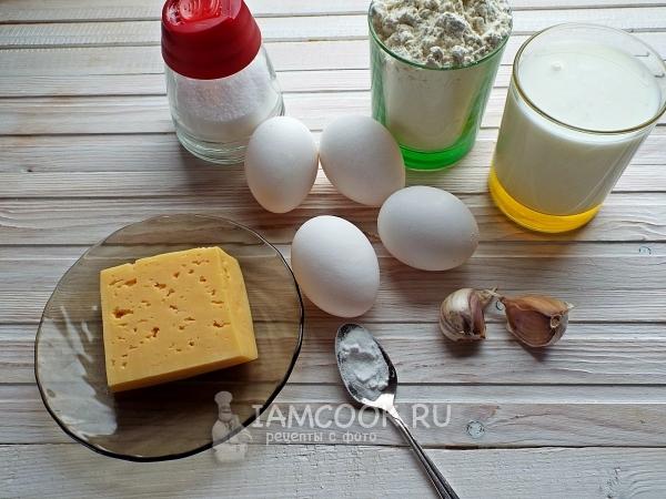 Ингредиенты для быстрого пирога из жидкого теста на кефире
