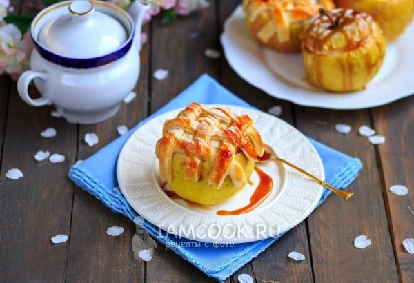 Фото яблок, фаршированных творогом, в духовке