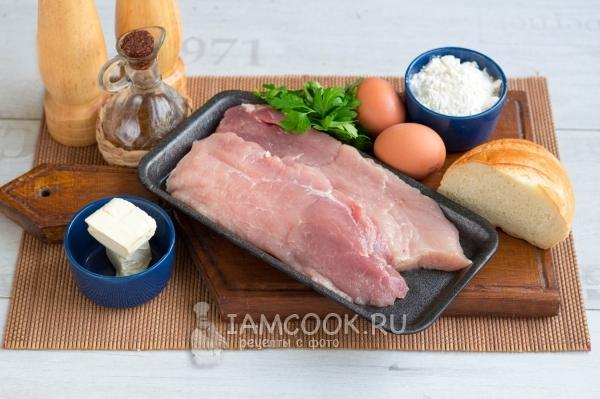 Ингредиенты для вкусного шницеля из свинины на сковороде