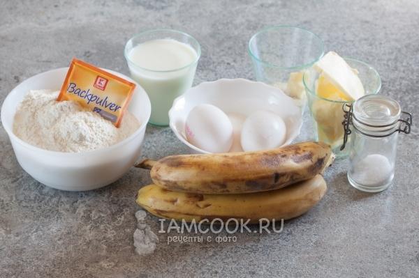 Ингредиенты для бананового кекса на кефире