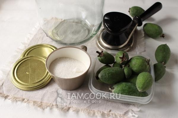 Ингредиенты для компота из фейхоа на зиму