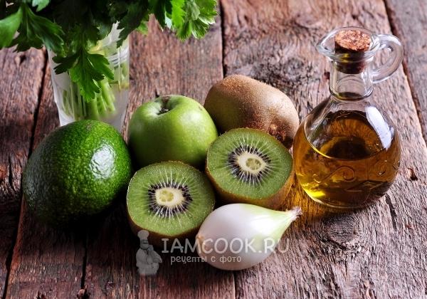 Ингредиенты для витаминного салата из киви и авокадо