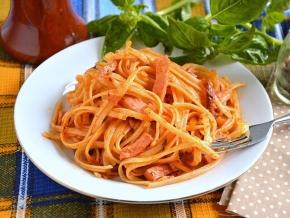 рецепт макарон с жареной колбасой