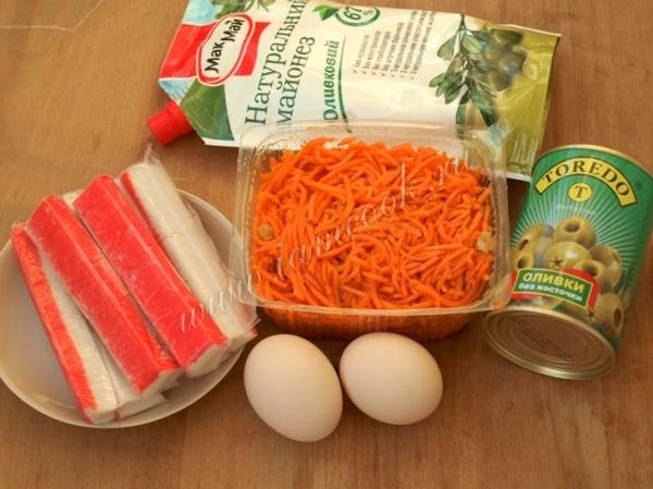 Салат крабовые палочки яйца корейская морковь