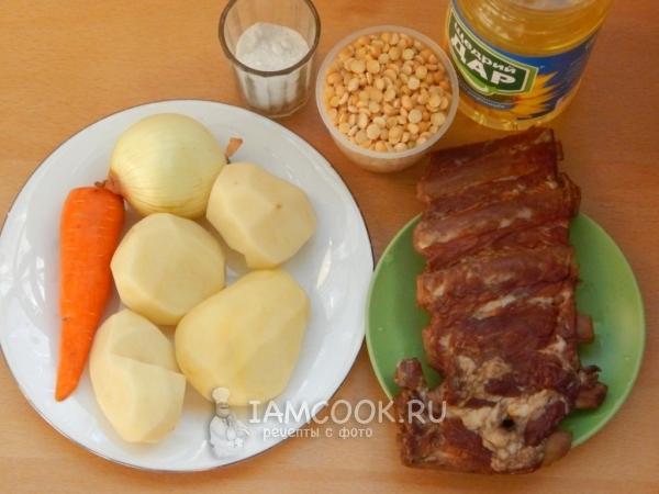 Гороховый суп с копчеными свиными ребрышками, пошаговый рецепт с фото