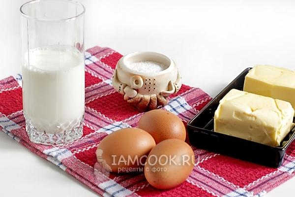 Ингредиенты для омлета как в детском саду