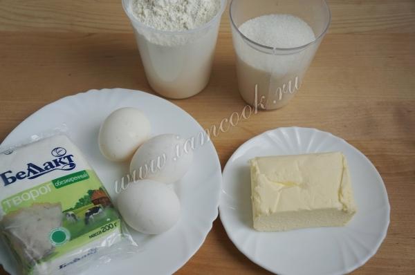 Ингредиенты для простых творожных кексов
