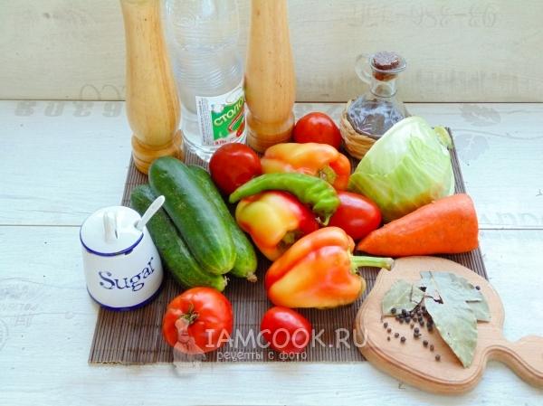 Ингредиенты для «Кубанского» салата на зиму