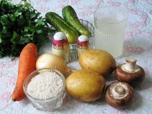 Овощной рассольник с грибами, пошаговый рецепт с фото