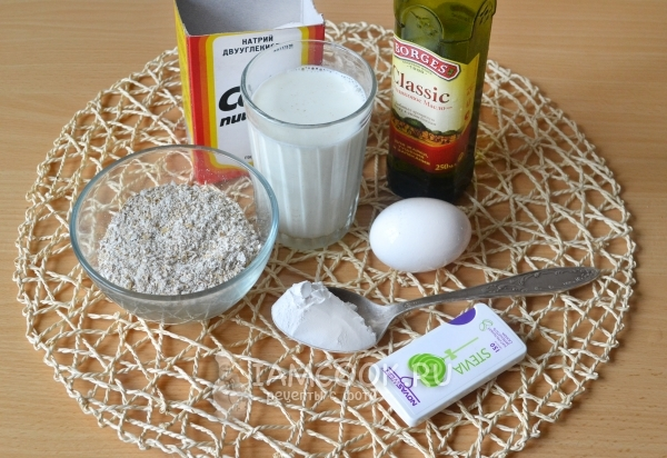 Ингредиенты для блинов по Дюкану с отрубями на кефире