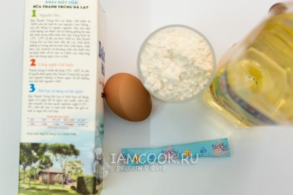 Ингредиенты для тонких блинов на молоке (с дырочками)