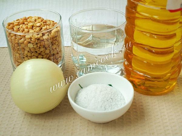 Ингредиенты для гороховой каши с луком
