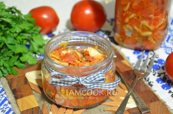 Фото салата со скумбрией на зиму