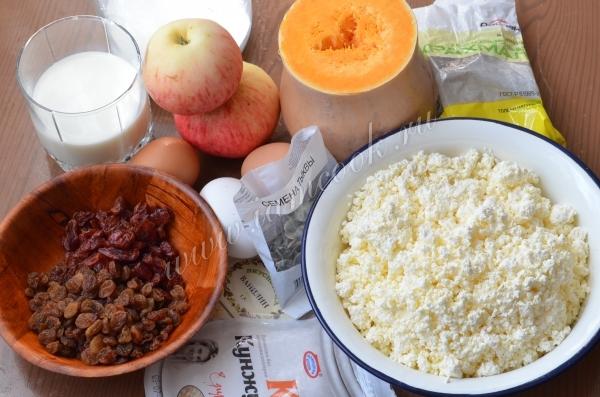 Блины на молоке с кармелизированной тыквой и яблоком под малиновым соусом 87